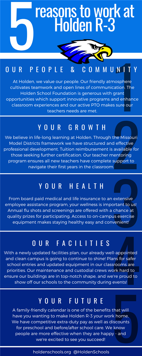 5 reasons to work at Holden: Our People and Community, Your Growth, Your Health, Our Facilities, Your Future