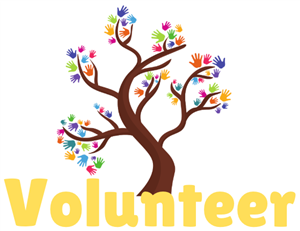 volunteer with tree and hands