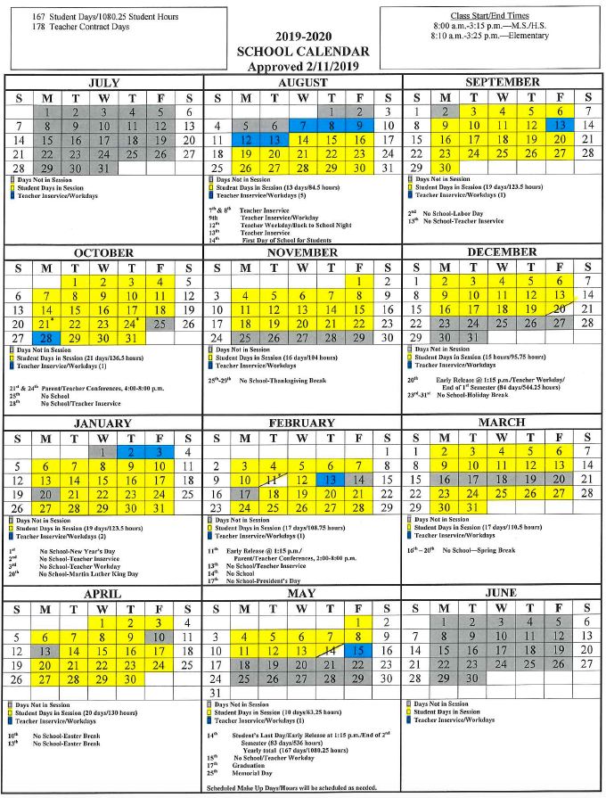 Calendar for 2019-2020 School Year