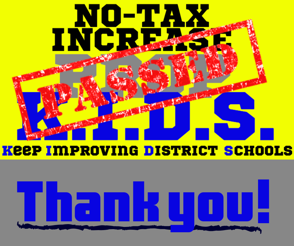 Prop K.I.D.S. passed with 72% of the vote - because of YOU! Thank you for taking the time to vote, and for your continued dedication to your school district. Holden R-III School District appreciates you!!