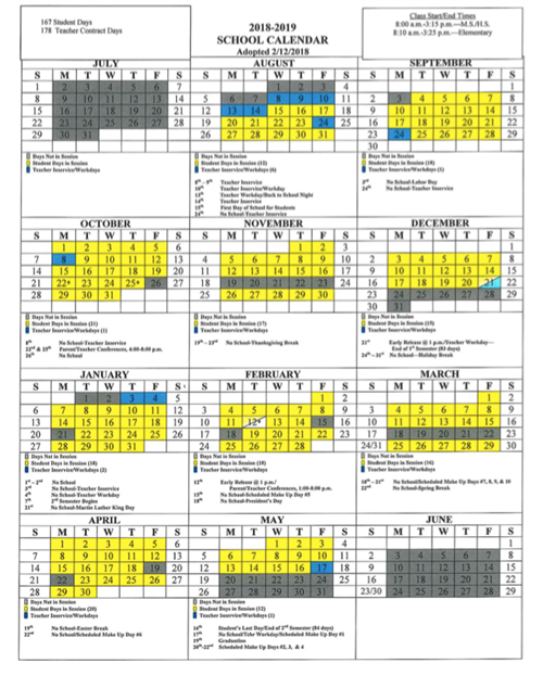 Approved Calendar for 2018-2019 School Year