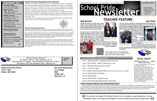 screenshot of january february newsletter