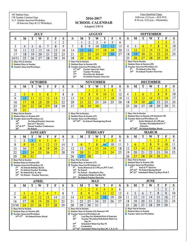 District District Calendar